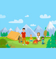 summer holiday on nature cartoon vector image