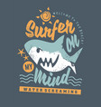 surfing tee shirt graphic with cartoon shark and c vector image vector image