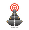 target at end of bumpy road going to goal vector image