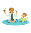 teacher and little boy sitting on the floor and vector image vector image