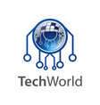 technology world logo concept design symbol vector image vector image