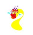 This of a happy goldfish cartoon character waving