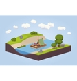 Travel down the river on a raft vector image vector image