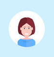 woman face happy lady portrait on blue background vector image vector image