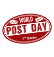 world post day grunge rubber stamp vector image vector image