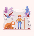 young man cattleman with his shepherd dog vector image