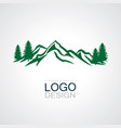 mountain green forest logo vector image