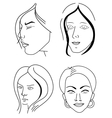 Set of woman faces vector image
