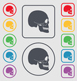 Skull icon sign symbol on the Round and square vector image