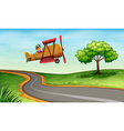 A plane above the winding road vector image vector image