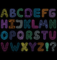 alphabet on black background vector image