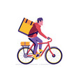 bicycle delivery courier man vector image vector image