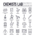 biohazard chemists in chemistry lab thin line vector image vector image