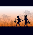black silhouettes of children in suits go hand vector image