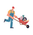 builder with tools and professional equipment vector image