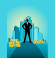 businessman standing in front of commercial vector image vector image