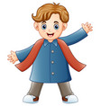 cartoon happy boy in winter clothes vector image vector image