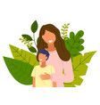cartoon mother with son stands on background vector image