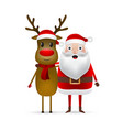 christmas santa claus and reindeer close up on a vector image