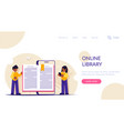 concept an online library book on mobile vector image vector image