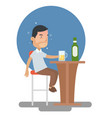drunk man too many drink alcohol at the bar vector image vector image