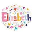 Elizabeth female name decorative lettering type vector image vector image