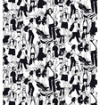 family people travel crowd seamless pattern black vector image vector image