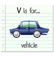 Flashcard letter V is for vehicle vector image vector image