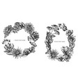 floral wreath black and white viburnum vector image
