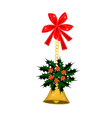 Golden Bell and Christmas Holly with A Bow vector image