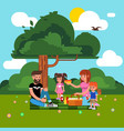 happy family has a picnic in nature vector image