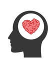 heart shaped brain inside human head vector image