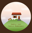 house on a hill in a circle frame vector image vector image