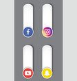 icons social network over white background vector image vector image