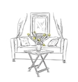 Interior element sketch Sofa and table vector image vector image