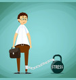 man with a chain on his leg metal kettlebell vector image