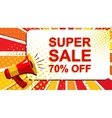 Megaphone with SUPER SALE 70 PERCENT OFF vector image vector image