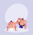 men practicing sumo avatar character vector image vector image