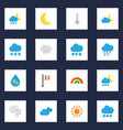 meteorology flat icons set collection of moon vector image vector image