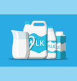 milk set isolated on blue vector image