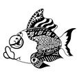Monochrome Tangle Patterns stylized Fish vector image vector image