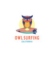 owl surfing logo design inspiration with a sunset vector image vector image
