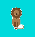 paper sticker on stylish background cartoon lion vector image vector image