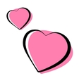 pink heart shaped outlined icons vector image vector image