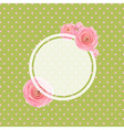 Pink Rose Label And Green Background vector image