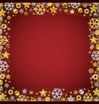 red christmas card with border of golden and vector image vector image
