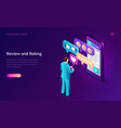 review and rating isometric landing page banner vector image vector image