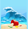 scene with big wave and beach vector image vector image