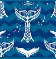 seamless pattern with whales tail vector image vector image