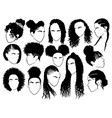 Set female afro hairstyles collection of